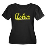 Asher, Yellow Women's Plus Size Scoop Neck Dark T-
