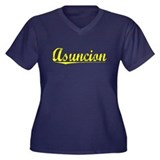 Asuncion, Yellow Women's Plus Size V-Neck Dark T-S