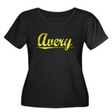 Avery, Yellow Women's Plus Size Scoop Neck Dark T-