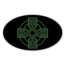 green celtic cross Oval Decal