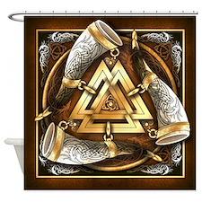 Norse Drinking Horn Valknut Shower Curtain