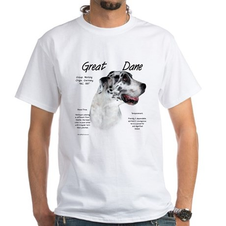 Harlequin Great Dane White T-Shirt