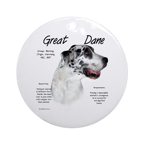 Harlequin Great Dane Ornament (Round)