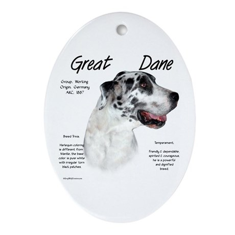 Harlequin Great Dane Oval Ornament