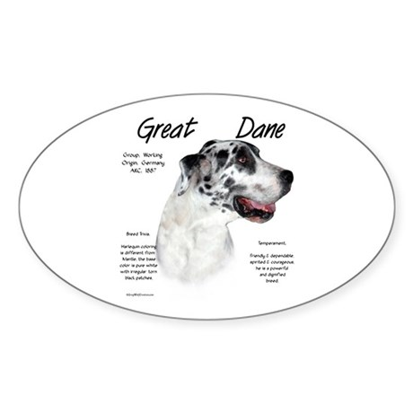 Harlequin Great Dane Oval Sticker