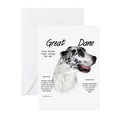 Harlequin Great Dane Greeting Cards (Pk of 10)