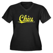 Chiu, Yellow Women's Plus Size V-Neck Dark T-Shirt