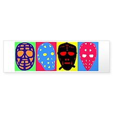 Vintage Hockey Goalie Masks Bumper Sticker