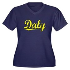 Daly, Yellow Women's Plus Size V-Neck Dark T-Shirt