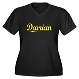 Damian, Yellow Women's Plus Size V-Neck Dark T-Shi
