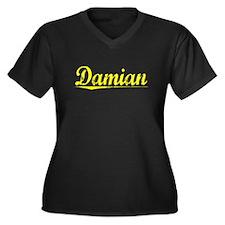 Damian, Yellow Women's Plus Size V-Neck Dark T-Shi
