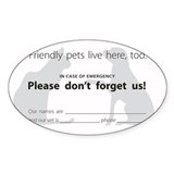 """In Case of Emergency"" Pet Decal Decal"