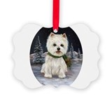 Cute West highland terrier Picture Ornament