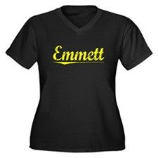 Emmett, Yellow Women's Plus Size V-Neck Dark T-Shi