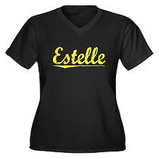 Estelle, Yellow Women's Plus Size V-Neck Dark T-Sh