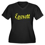 Everett, Yellow Women's Plus Size V-Neck Dark T-Sh