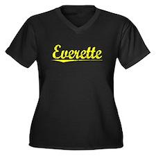 Everette, Yellow Women's Plus Size V-Neck Dark T-S
