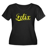 Felix, Yellow Women's Plus Size Scoop Neck Dark T-