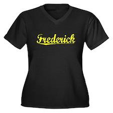 Frederick, Yellow Women's Plus Size V-Neck Dark T-