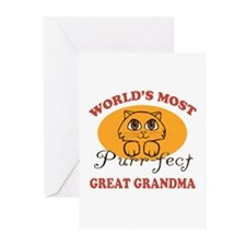 One Purrfect Great Grandma Greeting Cards (Pk of 1