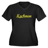 Hackman, Yellow Women's Plus Size V-Neck Dark T-Sh