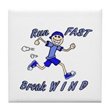 run fast - break wind - blue Tile Coaster