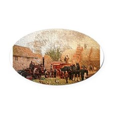 Threshing Oval Car Magnet