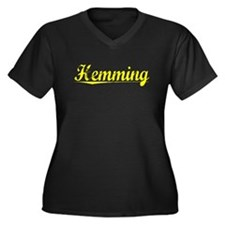 Hemming, Yellow Women's Plus Size V-Neck Dark T-Sh