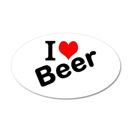 I Love Beer 20x12 Oval Wall Decal