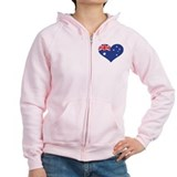 Australia flag heart Zipped Hoody