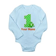 1st Birthday Frog Long Sleeve Infant Bodysuit