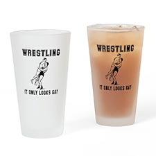 Wrestling Looks Gay Drinking Glass