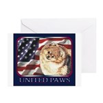 Pomeranian United US Flag Greeting Cards (Package