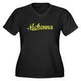 Mckenna, Yellow Women's Plus Size V-Neck Dark T-Sh