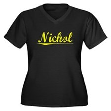 Nichol, Yellow Women's Plus Size V-Neck Dark T-Shi
