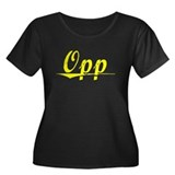 Opp, Yellow Women's Plus Size Scoop Neck Dark T-Sh