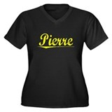 Pierre, Yellow Women's Plus Size V-Neck Dark T-Shi