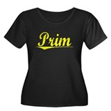 Prim, Yellow Women's Plus Size Scoop Neck Dark T-S