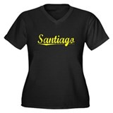 Santiago, Yellow Women's Plus Size V-Neck Dark T-S
