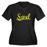 Saul, Yellow Women's Plus Size V-Neck Dark T-Shirt