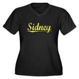 Sidney, Yellow Women's Plus Size V-Neck Dark T-Shi