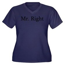Mr. Right Women's Plus Size V-Neck Dark T-Shirt