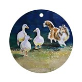 Sheltie Herding Ducks Ornament (Round)