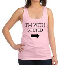 I'm With Stupid Racerback Tank Top