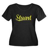 Stuart, Yellow Women's Plus Size Scoop Neck Dark T