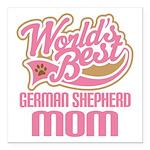 "German Shepherd Mom Square Car Magnet 3"" x 3"""