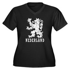 Nederland Women's Plus Size V-Neck Dark T-Shirt