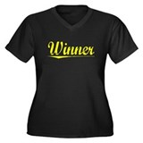Winner, Yellow Women's Plus Size V-Neck Dark T-Shi