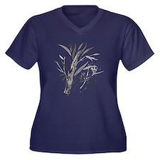 Bamboo Garden Women's Plus Size V-Neck Dark T-Shir