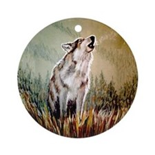 Singing Wolf Ornament (Round)